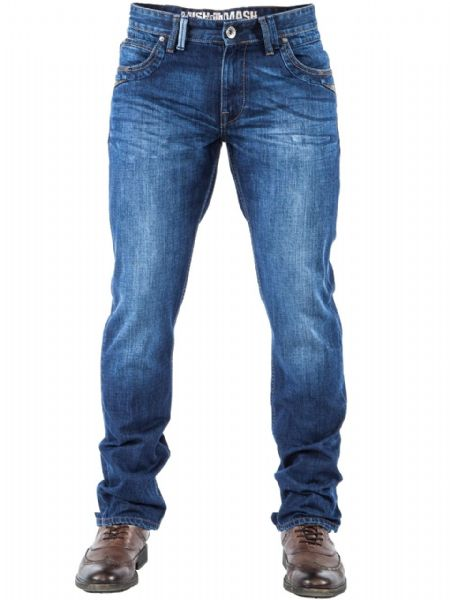 MISH MASH JEANS TENNESSEE DARK BLUE WASH STRAIGHT REGULAR THIGH JEANS